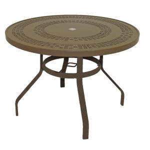 Marco Island 42 inch Brownstone Round Commercial Aluminum Patio Dining Table by