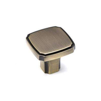 Transitional 1-3/8 in. (35 mm) Antique English Square Cabinet Knob