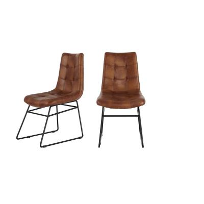Ivers Black Metal Upholstered Dining Chair with Antique Brown Seat (Set of 2) (18.5 in. W x 34 in. H)