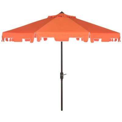 Zimmerman 9 ft. Aluminum Market Tilt Patio Umbrella in Orange/White