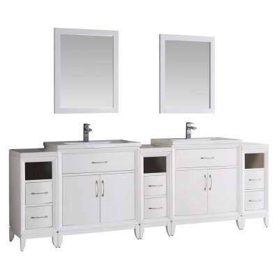Cambridge 96 in. Vanity in White with Porcelain Vanity Top in White with White Ceramic Basins and Mirror