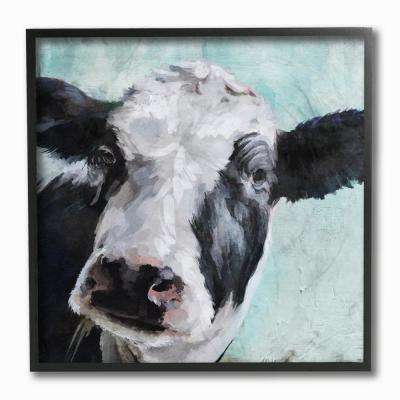 """12 in. x 12 in. """"Gentle Farm Cow Painting on Blue"""" by Artist Main Line Art and Design Framed Wall Art"""