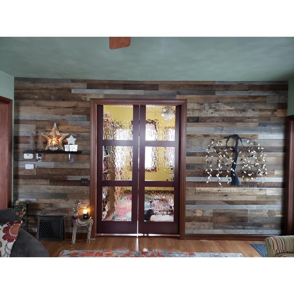 3/8 in. x 4 ft. Random Width 3 in. - 5 in., 10.59 sq. ft. Brown/Grey Barnwood Planks Decorative Wall Panel