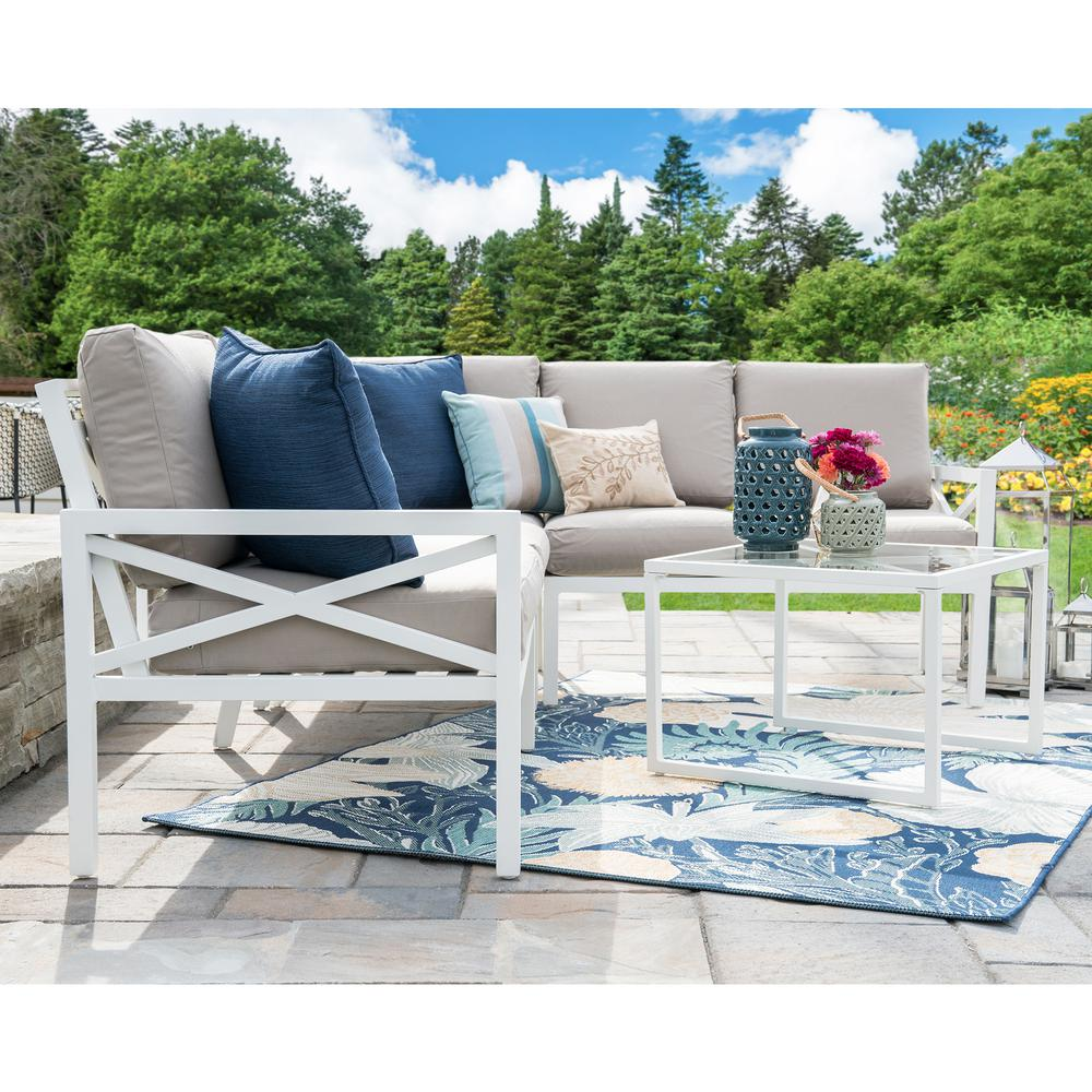 Leisure Made Blakely White 5 Piece Aluminum Outdoor Sectional Set With Tan  Cushions