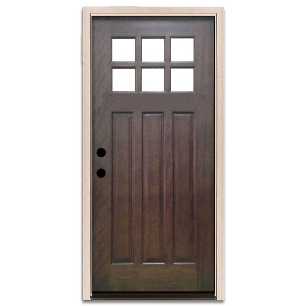 Steves & Sons 36 in. x 80 in. Craftsman 6 Lite Stained Mahogany Wood on