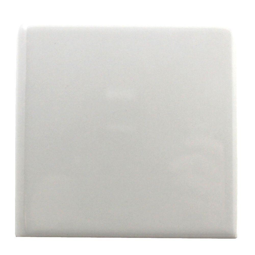 Semi-Gloss White 6 in. x 6 in. Ceramic Bullnose Wall Tile