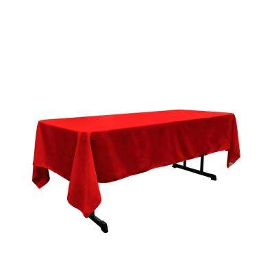 60 in. x 102 in. Red Polyester Poplin Rectangular Tablecloth