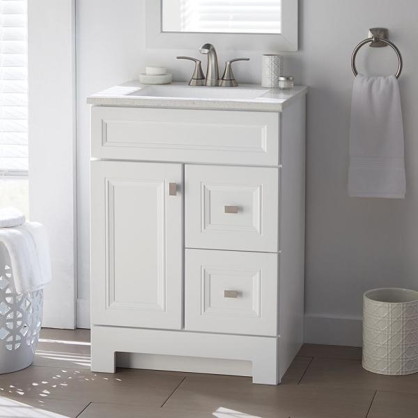 Home Decorators Collection Sedgewood 24 1 2 In W Bath Vanity In White With Solid Surface Technology Vanity Top In Arctic With White Sink Pplnkwht24d The Home Depot