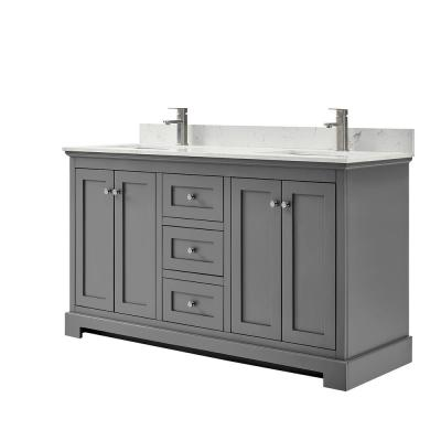 Ryla 60 in. W x 22 in. D Double Bath Vanity in Dark Gray with Cultured Marble Vanity Top in Carrara with White Basins