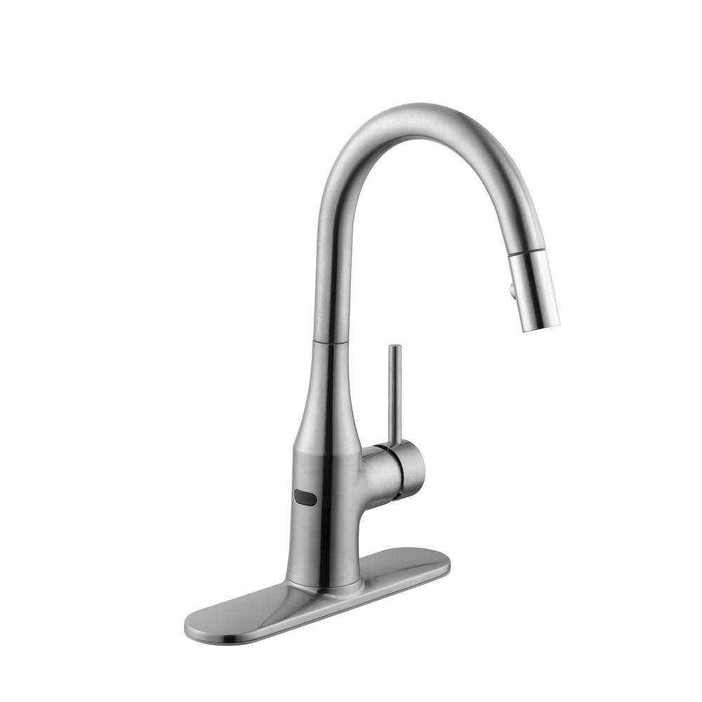 Schon Modern Single Handle Pull Down Sprayer Kitchen Faucet In Stainless Steel 67558 0108d2