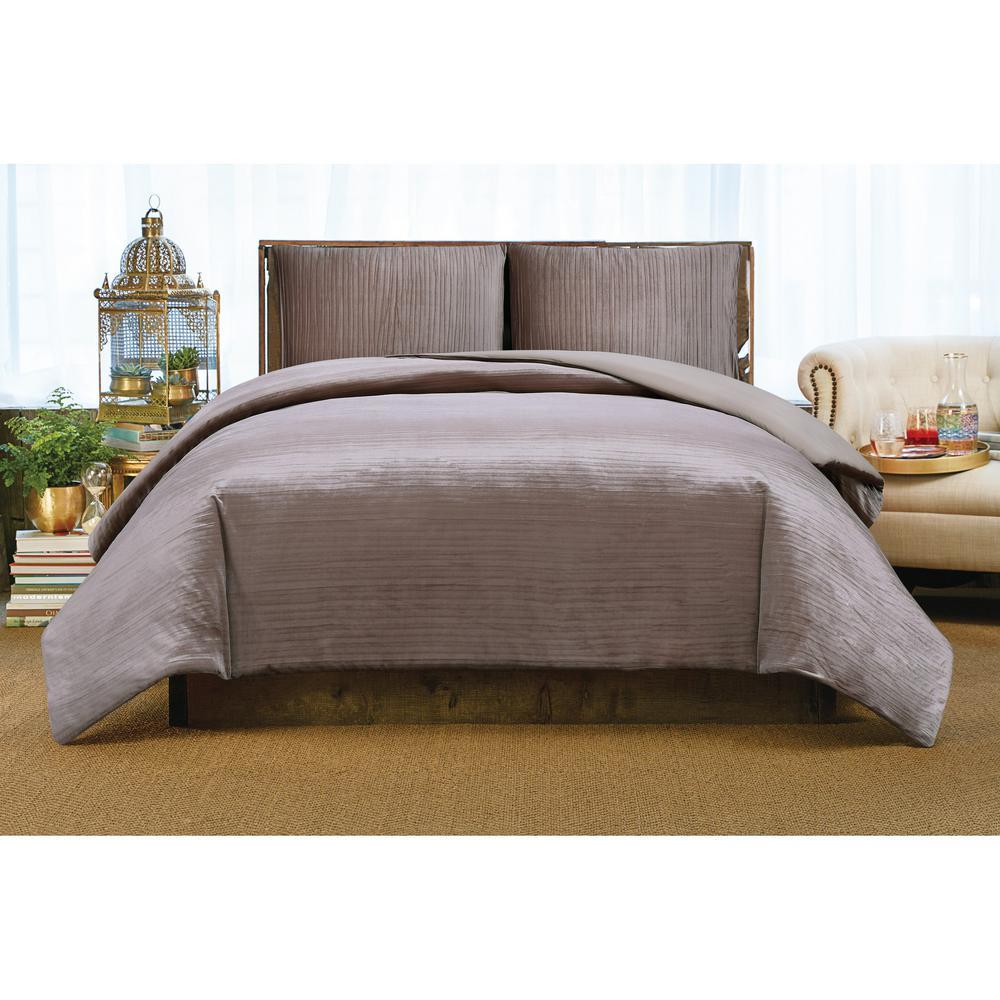 Crinkle Velvet Ros Full/Queen Comforter Set