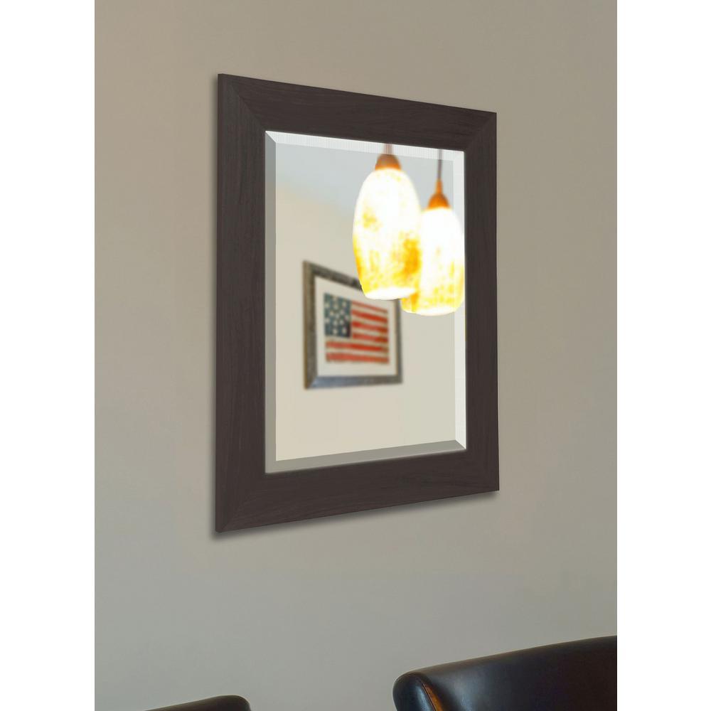 35.5 in. x 35.5 in. Black Walnut Beveled Vanity Wall Mirror