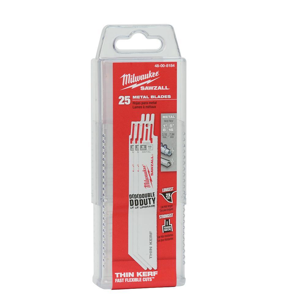 6 in. 18 Teeth per in. Thin Kerf Metal Reciprocating Saw Blades (25-Pack)