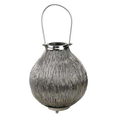 18.5 in. Urban Life Contemporary Silver Tea Light Candle Holder Lantern