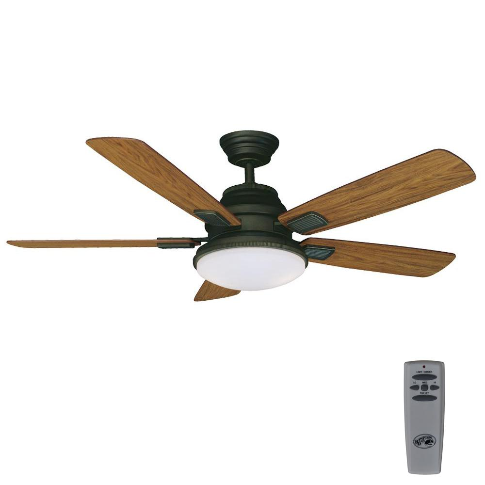 Led Indoor Oil Rubbed Bronze Ceiling Fan With Light Kit