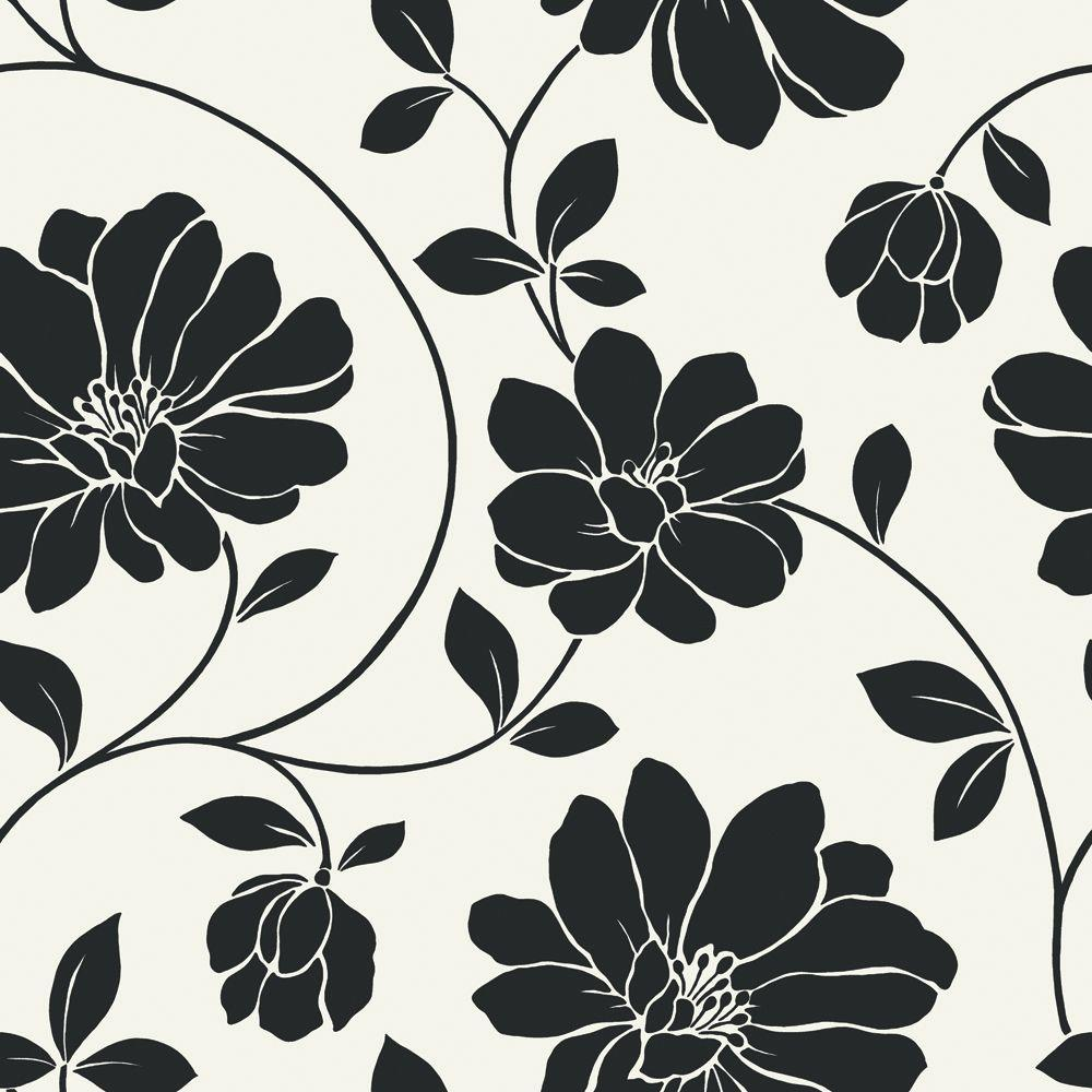 The Wallpaper Company 56 sq. ft. Black and White Large Scale Retro Floral Wallpaper