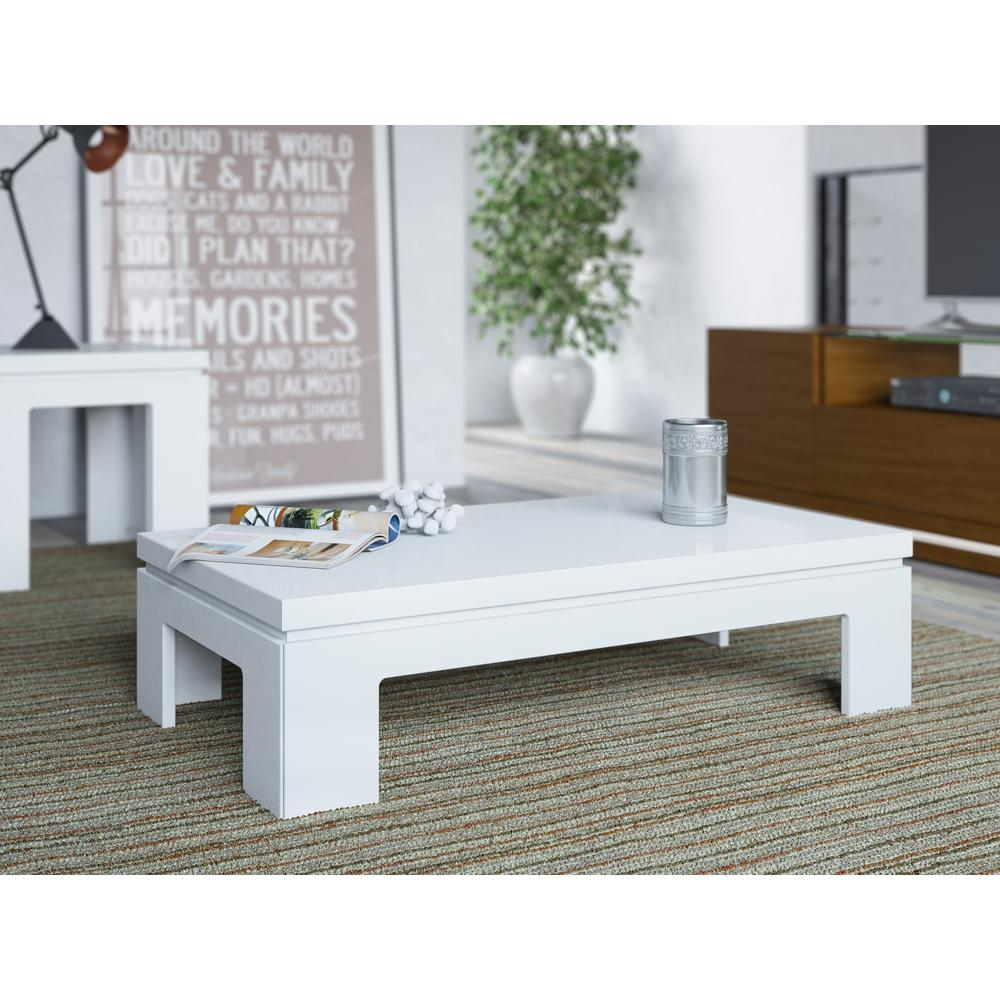 Annika White Gloss Coffee Table: Manhattan Comfort Bridge White Gloss Coffee Table-84652