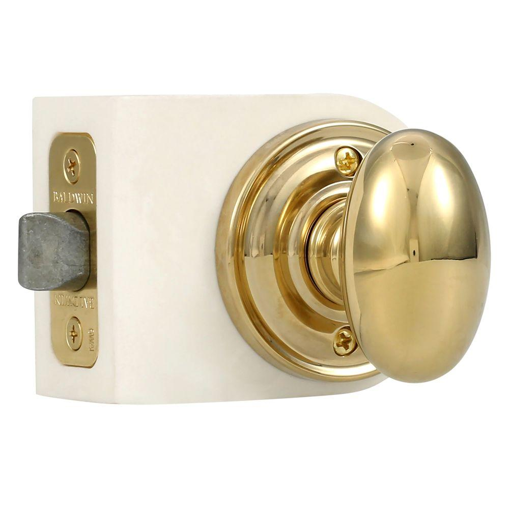 Reserve Ellipse Lifetime Polished Brass Hall/Closet Knob with Traditional Round