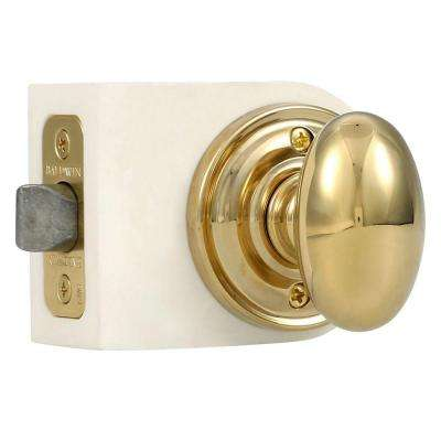 Reserve Ellipse Lifetime Polished Brass Hall/Closet Door Knob with Traditional Round Rose