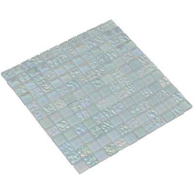 Bella/03, Aquamarine, 4 in. x 4 in. x 8 mm Glass Mesh-Mounted Mosaic Tile Sample