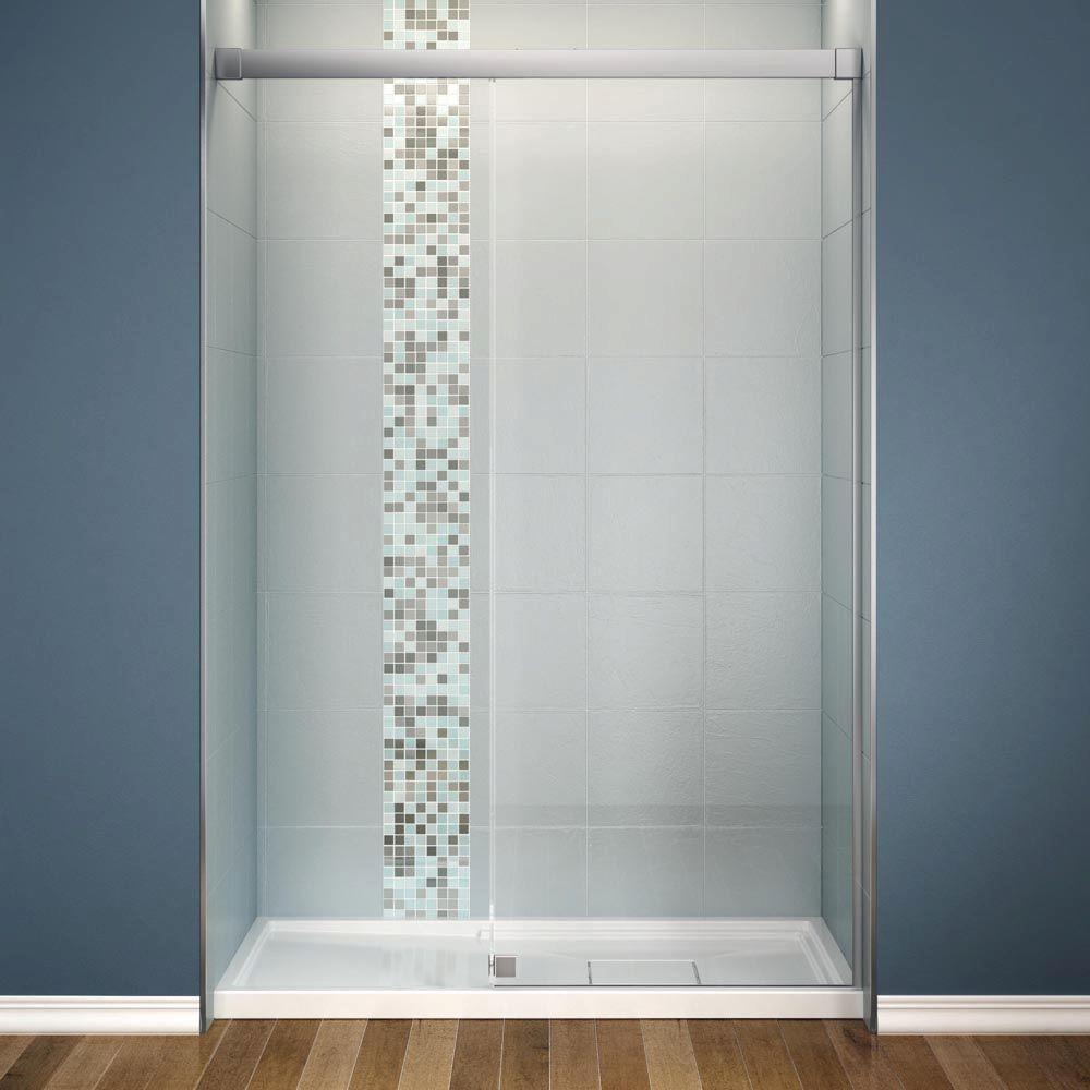 MAAX Influence 34 in. x 60 in. x 88 in. Standard Fit Shower Kit with Clear Glass in Chrome