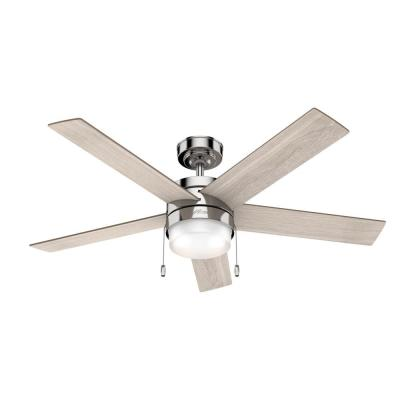 Claudette 52 in. LED Indoor Polished Nickel Ceiling Fan with Light
