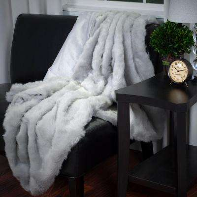 Grey Luxury Long Haired Faux Fur Throw