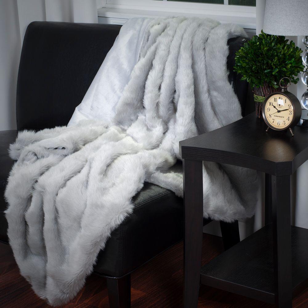 Lavish Home Grey Luxury Long Haired Faux Fur Throw