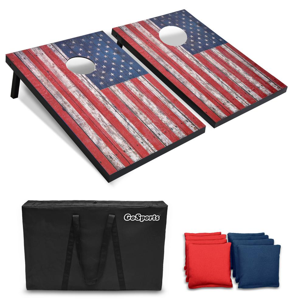 3 ft. x 2 ft. American Flag Cornhole Set with Weathered