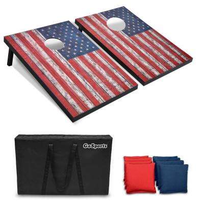 3 ft. x 2 ft. American Flag Cornhole Set with Weathered Wood Design Carrying Case