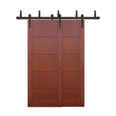 60 in. x 80 in. Bypass Prefinished 5-Panel Flush Mahogany Wood Barn Door with Bronze Sliding Door Hardware Kit