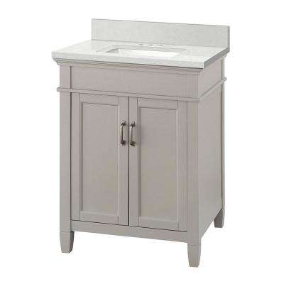 Ashburn 25 in. W x 22 in. D Vanity Cabinet in Grey with Engineered Marble Vanity Top in Snowstorm with White Basin