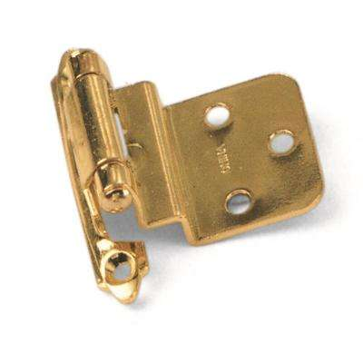 Inset Polished Brass 3/8 in. Self-Closing Hinge (1-Pair)