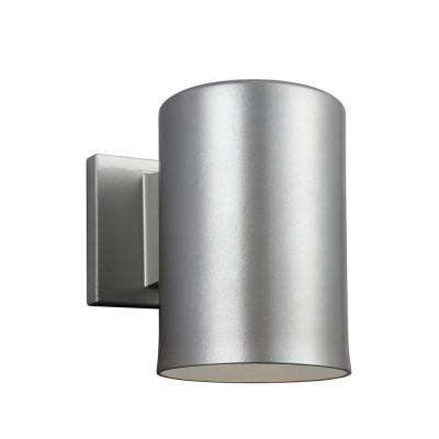 Outdoor Cylinder Collection 1-Light Painted Brushed Nickel Outdoor Wall Fixture