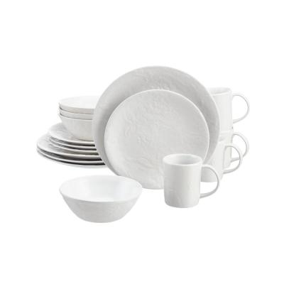 Ophelia 16-Piece White Stoneware Dinnerware Set (Service for 4)