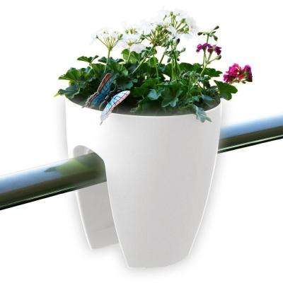 11.4 in. x 11.8 in. x 11.4 in. White Plastic Railing and Deck Planter (2 pack)