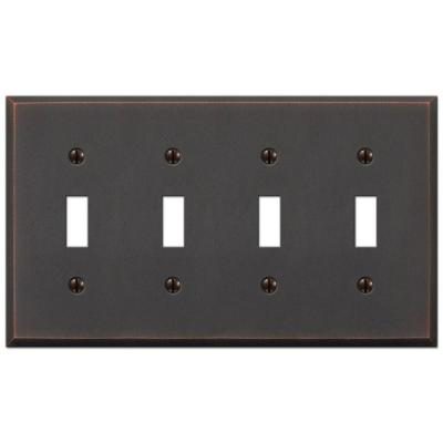 Manhattan 4 Gang Toggle Metal Wall Plate - Aged Bronze