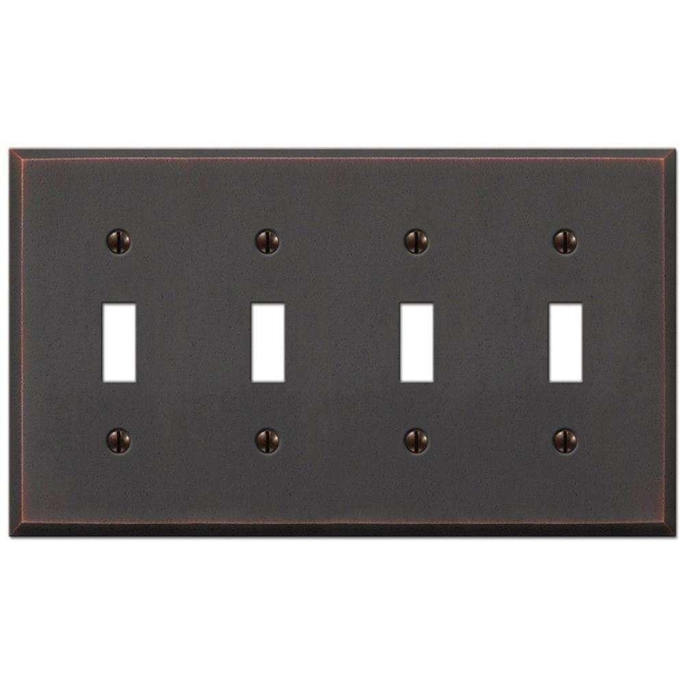 Amerelle Manhattan 4 Toggle Wall Plate - Aged Bronze