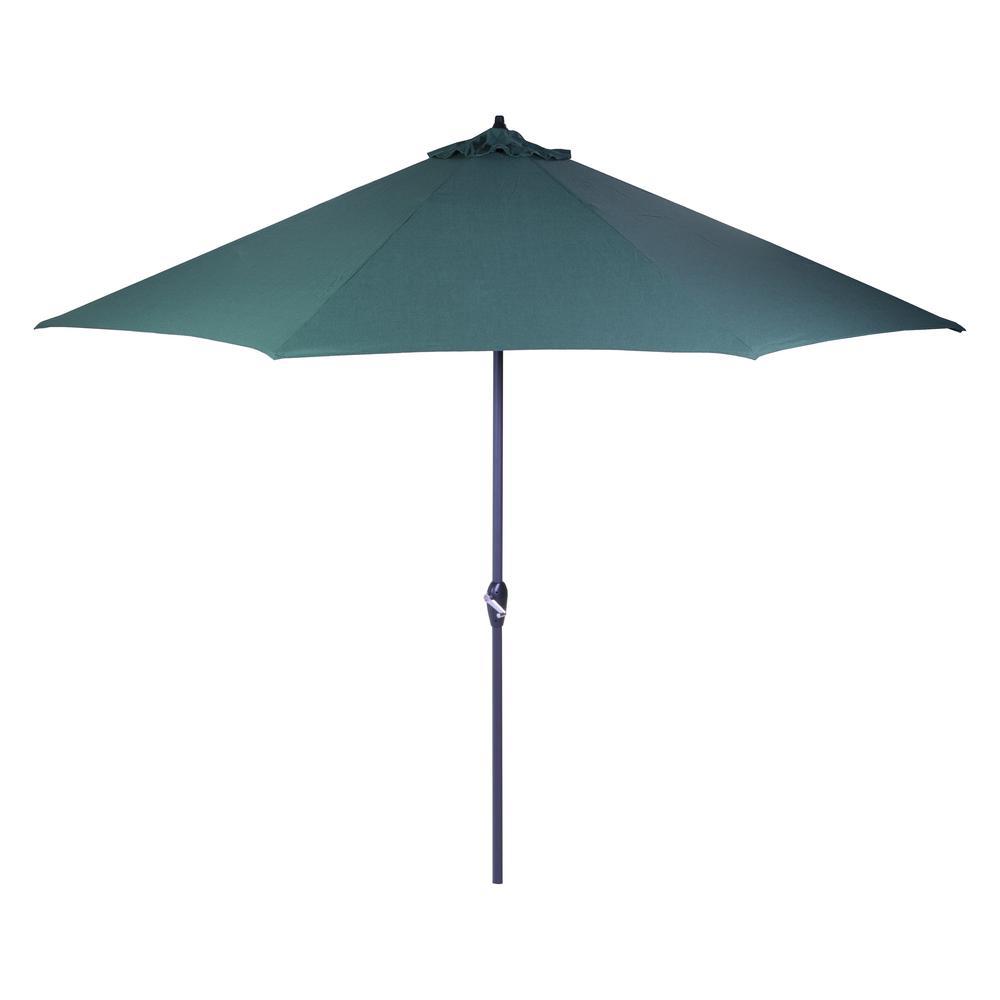Hampton Bay 11 ft. Aluminum Market Patio Umbrella in Emerald Coast