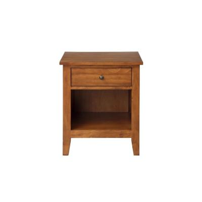 Brown Modern Wood Nightstand with Drawer
