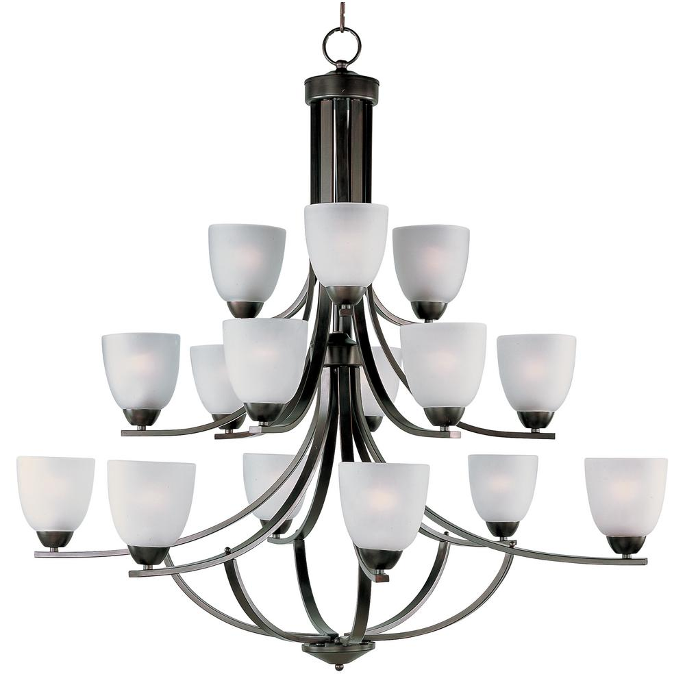 Axis 15-Light Oil Rubbed Bronze Chandelier with Frosted Shade