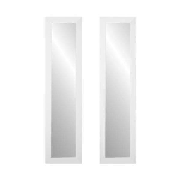 Brandtworks 16 In X 71 In 2 Piece Matte White Full Length Mirror Set Bm3skinny 2pc The Home Depot