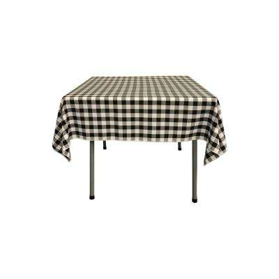 52 in. x 52 in. White and Black Polyester Gingham Checkered Square Tablecloth