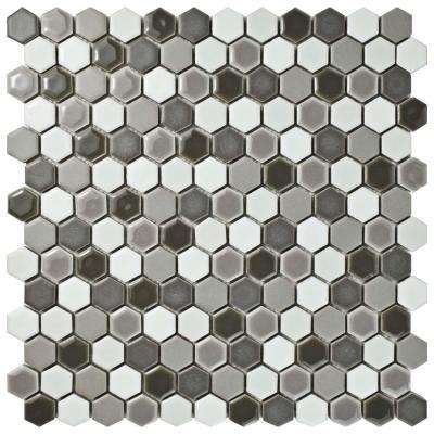 Comet Hex Luna 11-5/8 in. x 11-7/8 in. x 8 mm Porcelain Mosaic Tile