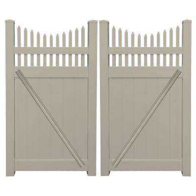 Halifax 7.4 ft. W x 6 ft. H Khaki Vinyl Privacy Fence Double Gate Kit