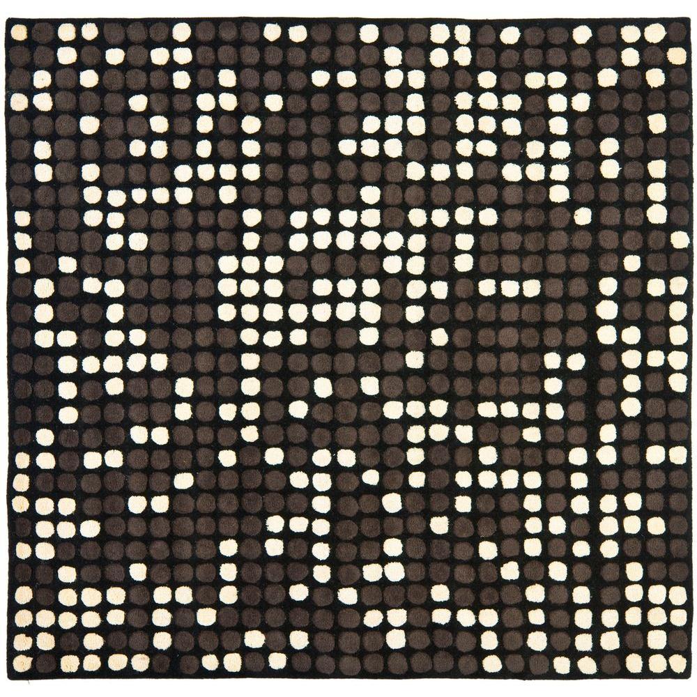 Soho Black/White 6 ft. x 6 ft. Square Area Rug