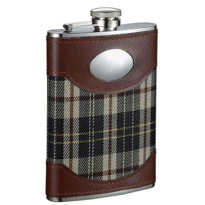 Theodore Leather and Green Plaid Liquor Flask