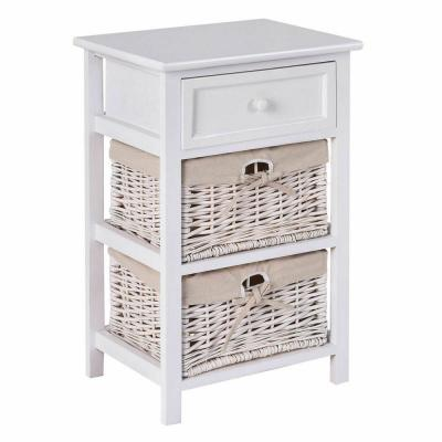 White NightStand 3 Tiers 1-Drawer Bedside End Table Organizer Wood W/2 Baskets