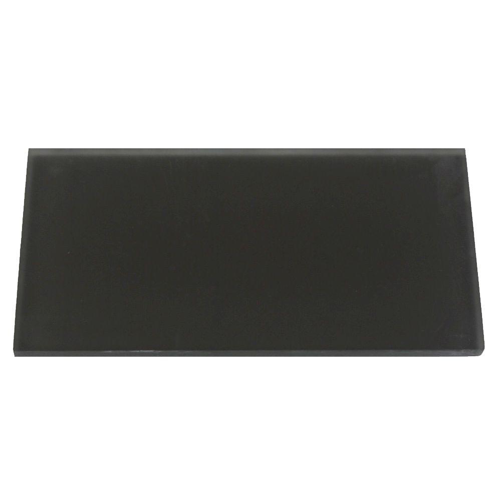 Splashback Tile Contempo Smoke Gray Frosted Glass Tile - 3 in. x 6 in. x 8 mm Tile Sample