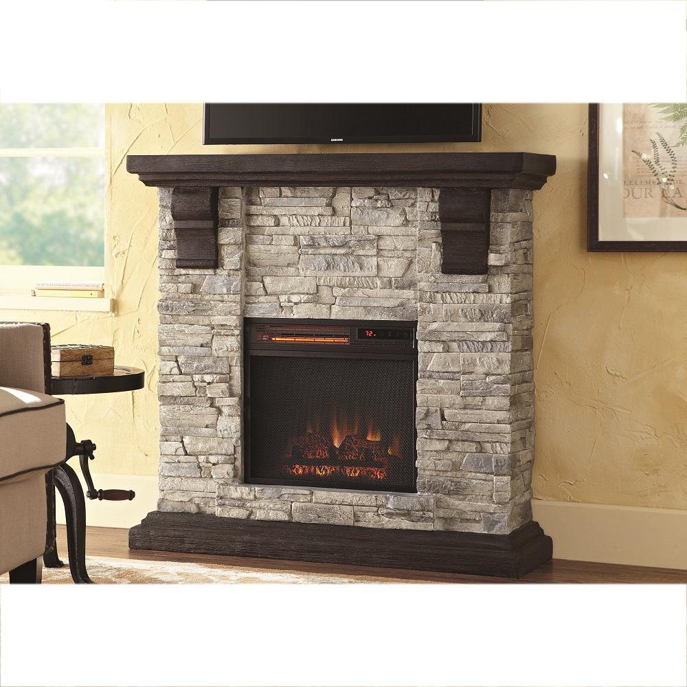 Highland 40 in. Faux Stone Mantel Electric Fireplace in Gray